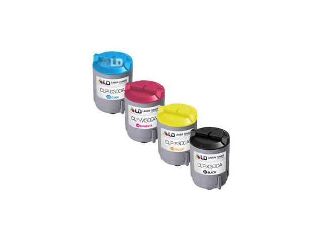 LD © 4 Compatible toners for Samsung CLP300 1 Black CLP-K300A & 1 Cyan CLP-C300A, Magenta CLP-K300M, Yellow CLP-K300Y for use in Samsung CLP-300, CLP-300N, CLX-2160, & CLX-3160 Printers