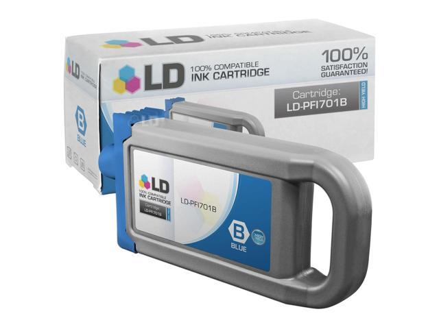 LD © Compatible Replacement for Canon PFI-701B HY Blue Pigment Inkjet Cartridge for use in Canon imagePROGRAF iPF8000, iPF8100, iPF9000, and iPF9100