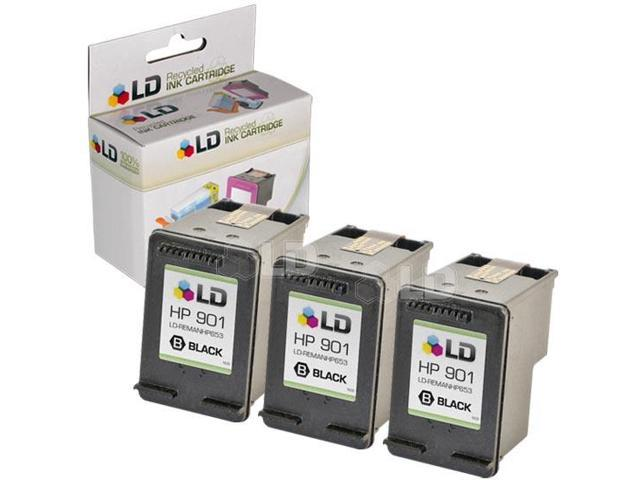 LD © Remanufactured Replacement Ink Cartridge for Hewlett Packard CC653AN (HP 901) Black (3 Pack)
