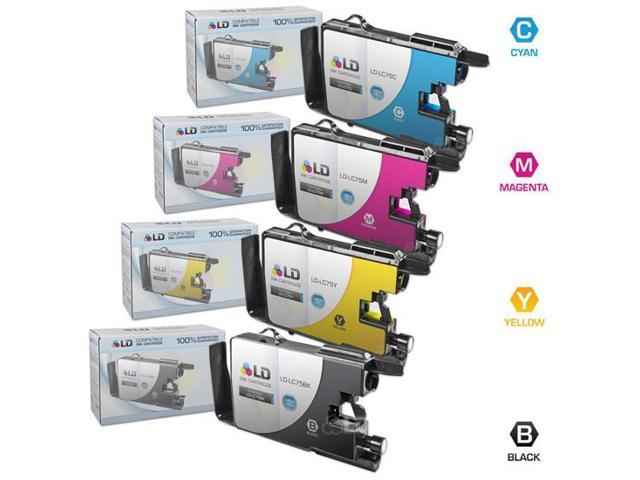 LD © Brother Compatible LC75 Bulk Set of 4 High Yield Ink Cartridges: 1 Black LC75BK & 1 each of Cyan LC75C / Magenta LC75M / Yellow LC75Y for use in the Brother MFC-J6510DW & MFC-6710DW