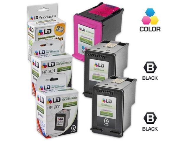 LD © Remanufactured Ink Cartridge Replacements for HP CC653AN (HP 901) Black and HP CC656AN (HP 901) Color (2 Black and 1 Color)