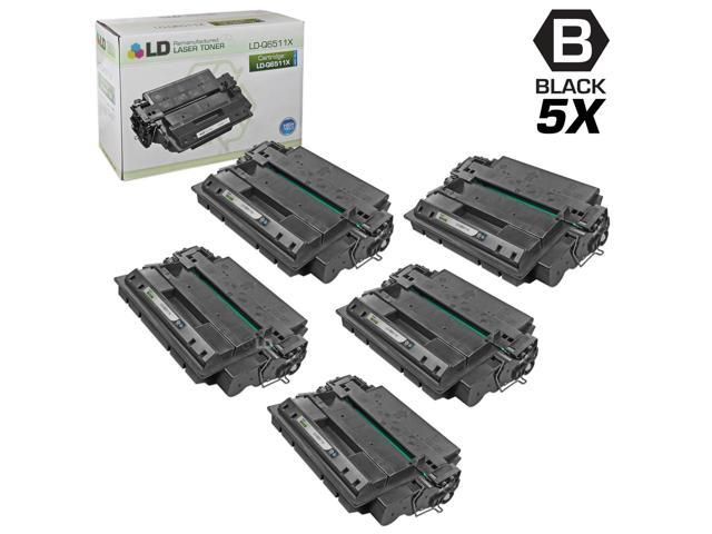 LD © Remanufactured Replacements for Hewlett Packard Q6511X (HP 11X) 5PK HY Black Laser Toner Cartridges for use in HP LaserJet ...