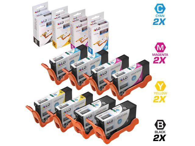 LD © Compatible Lexmark 100XL / 100 14N1068, 14N1069, 14N1070 and 14N1071  Set of 4 High Yield Color Inkjet Cartridges: 2 ...
