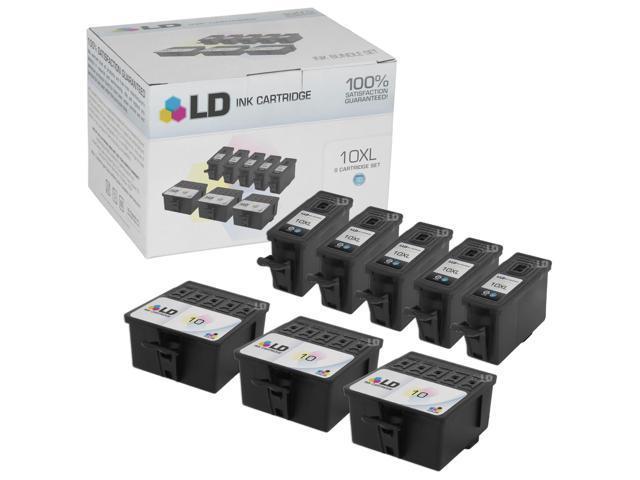 LD Compatible Kodak 10XL / 10 Set of 8 Ink Cartridges: 5 Black 8237216 & 3 Color 8946501 for EasyShare 5100, 5300, 5500, ESP 3, 3250, 5, 5210, ESP , 7, 7250, 9,  9250, Office 6150, Hero 7.1, 9.1, 6.1