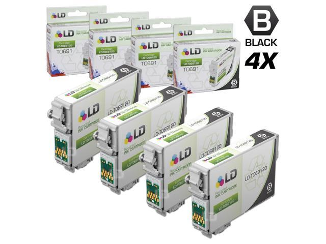 LD © Remanufactured Replacement for Epson T0691 Set of 4 Black Ink Cartridges Includes: 4 T069120 Black Inkjet Cartridges