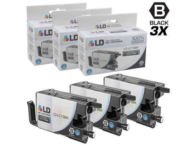 LD © Compatible Replacements for Brother LC79BK Set of 3 Black Extra High Yield Inkjet Cartridges for use in Brother MFC ...