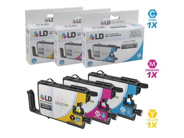 LD Compatible Replacements for Brother LC79 Set of 3 Extra HY Inkjet Cartridges: 1 LC79C Cyan, 1 LC79M Magenta, and 1 LC79Y ...