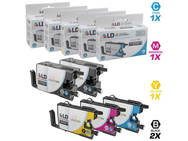 LD Compatible Replacements for Brother LC79 Set of 5 Extra HY Inkjet Cartridges: 1 LC79BK Black, 1 LC79C Cyan, 1 LC79M Magenta, ...