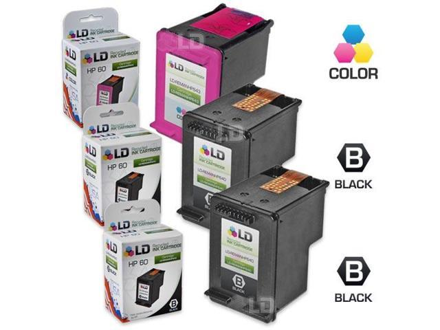 LD © Remanufactured Ink Cartridge Replacements for HP CC640WN (HP 60) Black and HP CC643WN (HP 60) Color (2 Black and 1 Color)