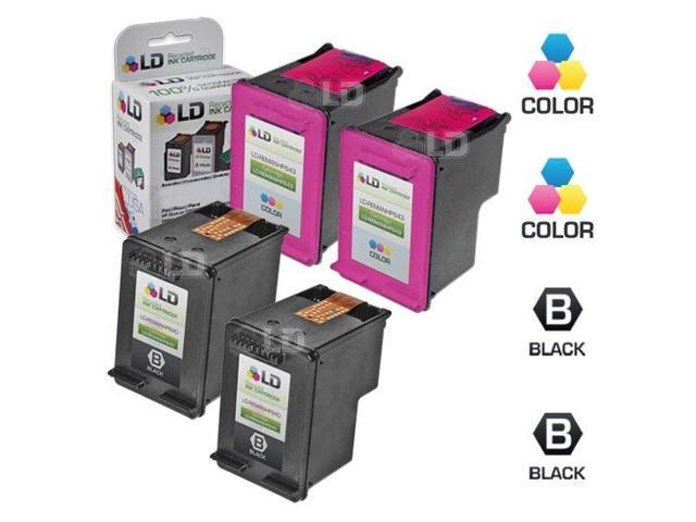 LD © Remanufactured Ink Cartridge Replacements for HP CC640WN (HP 60) Black and HP CC643WN (HP 60) Color (2 Black and 2 Color)