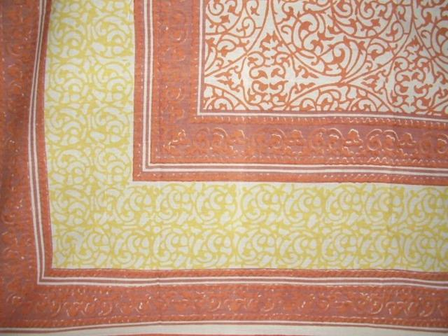 Persian Filigree Block Print Cotton Tablecloth 90