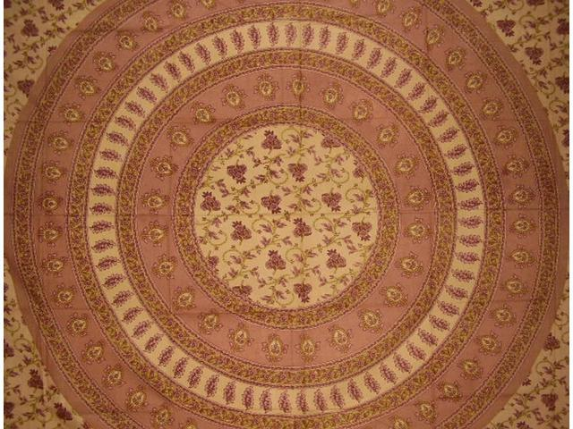 """Floral Vine Tapestry Cotton Bedspread 108"""" x 88"""" Full-Queen Brown"""