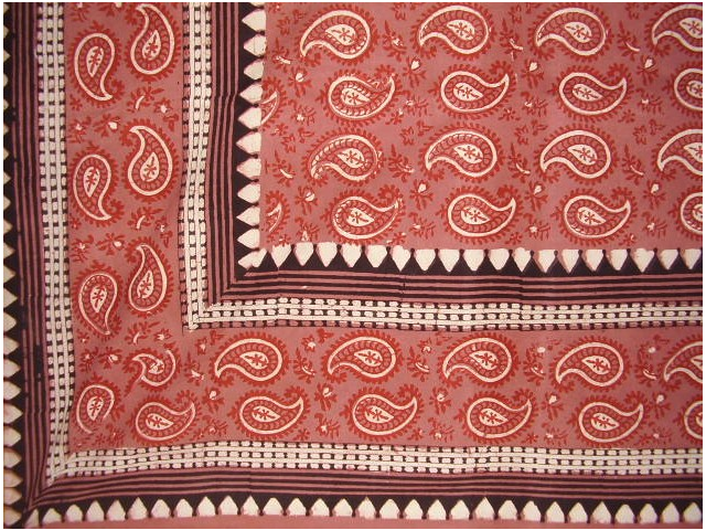 Block Print Primitive Paisley Tapestry Spread Dusty Red Queen