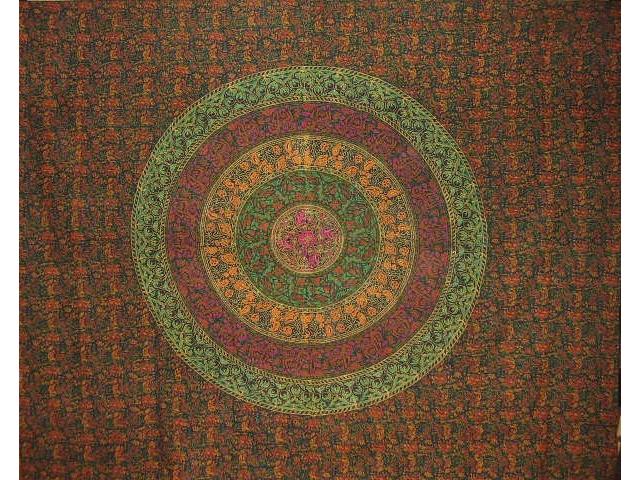 "Sanganeer Block Print Indian Tapestry Cotton Bedspread 108"" x 88"" Full-Queen Green"