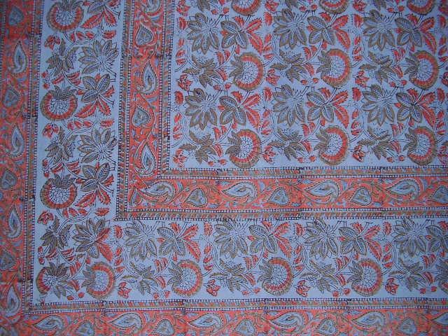 Block Print Floral Indian Tapestry Bedspread F/Q Blue