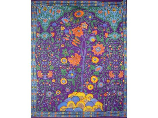 "Tree of Life Tapestry Cotton Bedspread 108"" x 88"" Full-Queen Purple"