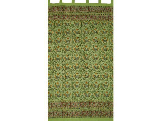 Dabu Dyed Jaipur Print Tab Top Curtain Drape Butterflies