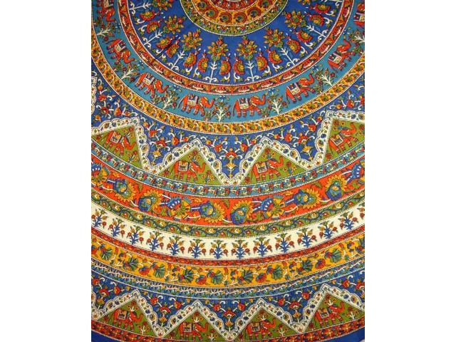 Indian Mandala Print Round Cotton Tablecloth 76