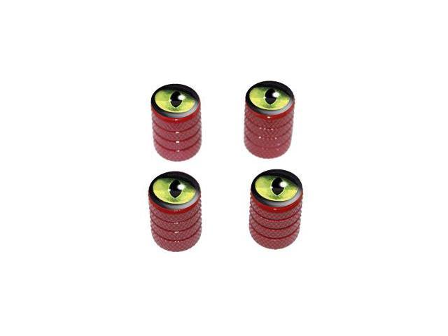 Cat Green Eye - Tire Rim Valve Stem Caps - Red