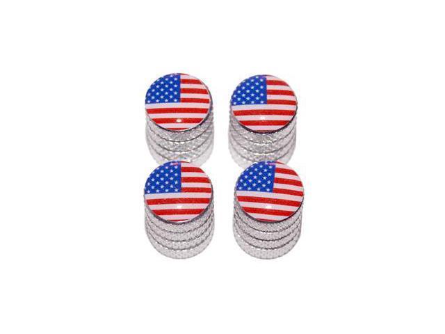 USA American Flag - Tire Rim Valve Stem Caps - Aluminum
