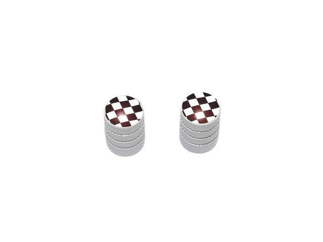 Checkered Flag - NASCAR Tire Rim Valve Stem Caps - Motorcycle Bike Bicycle - White