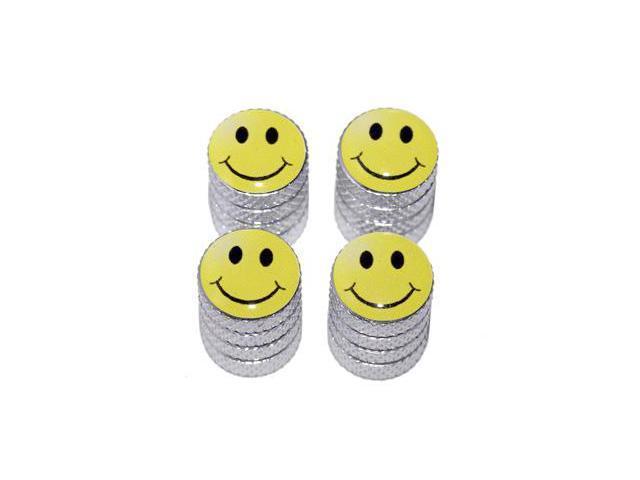 Smiley Smile Face - Tire Rim Valve Stem Caps - Aluminum