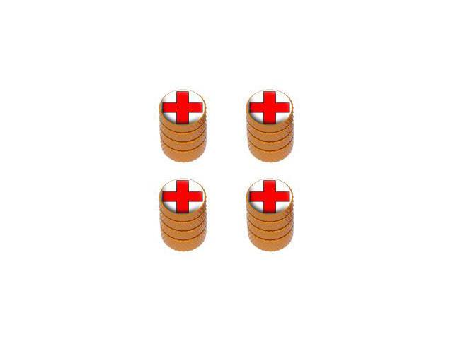 Red Cross - EMT RN Tire Rim Valve Stem Caps - Orange