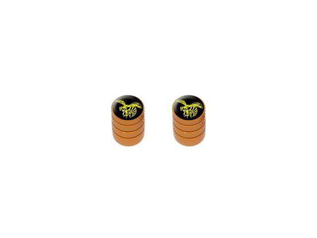 Bee Wasp Hornet Yellow on Black - Tire Rim Valve Stem Caps - Motorcycle Bike Bicycle - Orange