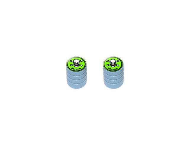 Poison Skull And Crossbones - Tire Rim Valve Stem Caps - Motorcycle Bike Bicycle - Light Blue