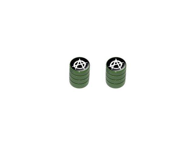 Anarchy Symbol - Tire Rim Valve Stem Caps - Motorcycle Bike Bicycle - Green