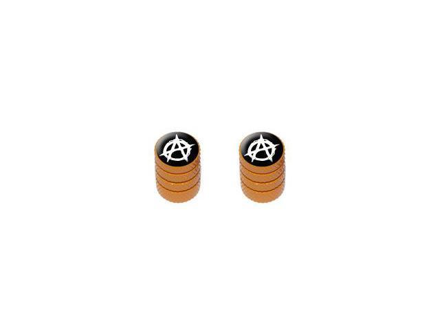 Anarchy Symbol - Tire Rim Valve Stem Caps - Motorcycle Bike Bicycle - Orange