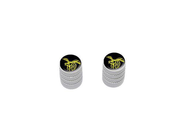 Bee Wasp Hornet Yellow on Black - Tire Rim Valve Stem Caps - Motorcycle Bike Bicycle - White
