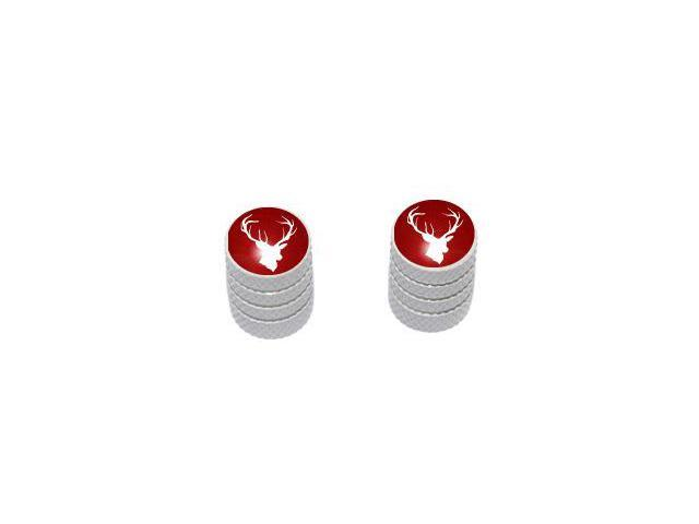 Deer - Hunting Hunter Tire Rim Valve Stem Caps - Motorcycle Bike Bicycle - White