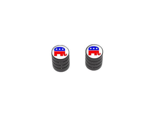 Republican Elephant - Tire Rim Valve Stem Caps - Motorcycle Bike Bicycle - Black