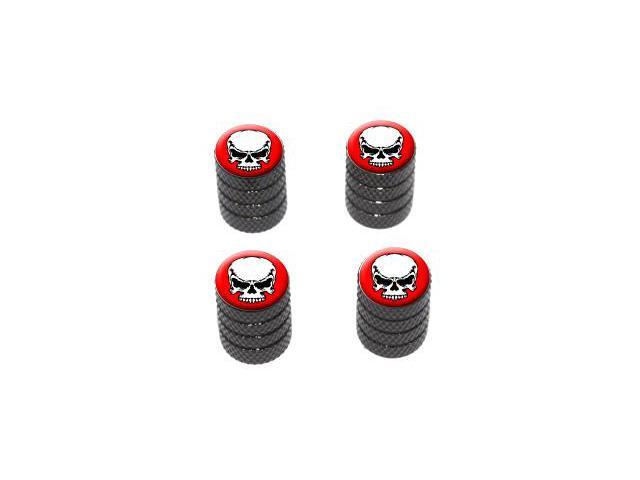 Tribal Skull on Red - Tire Rim Valve Stem Caps - Black