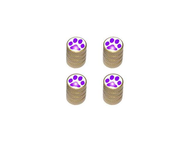 Paw Print Purple - Tire Rim Valve Stem Caps - Gold