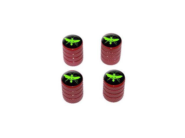 Hornet Wasp - Green - Tire Rim Valve Stem Caps - Red