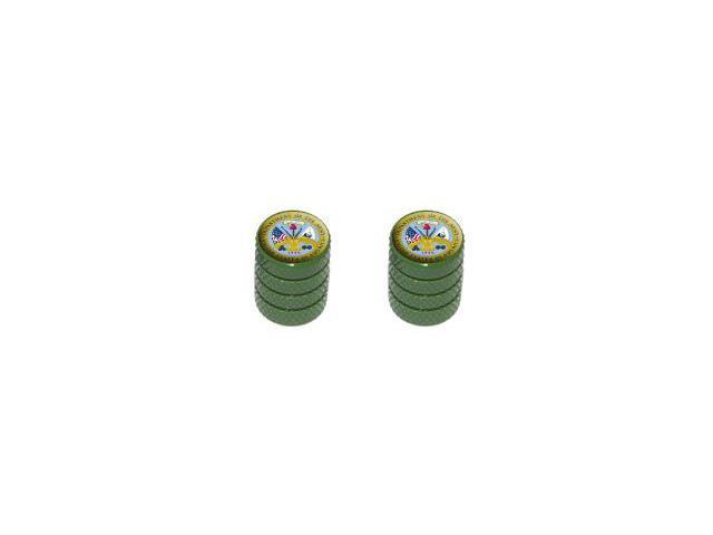 Army - United States Military - Tire Rim Wheel Valve Stem Caps - Motorcycle Bike Bicycle - Green