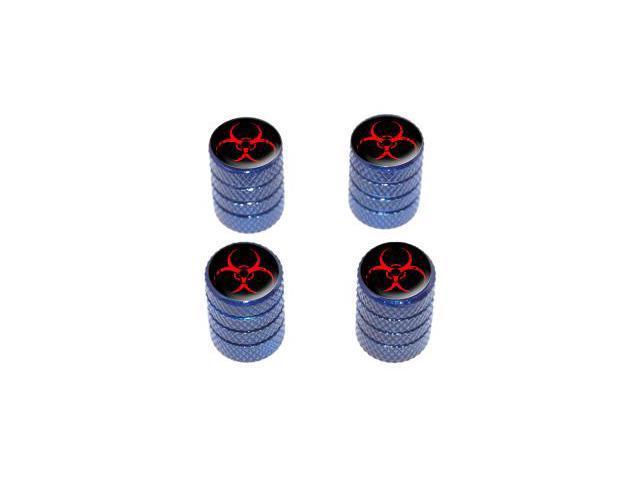 Zombie Outbreak Response Vehicle Red Biohazard - Tire Rim Valve Stem Caps - Blue