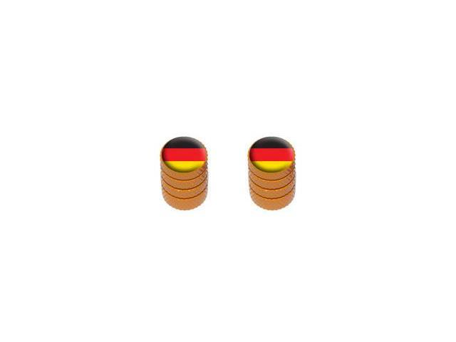 German Flag - Tire Rim Valve Stem Caps - Motorcycle Bike Bicycle - Orange