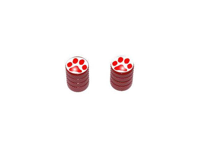 Paw Print Red - Tire Rim Valve Stem Caps - Motorcycle Bike Bicycle - Red