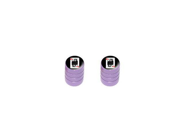 Queen of Hearts - Playing Cards - Tire Rim Valve Stem Caps - Motorcycle Bike Bicycle - Purple