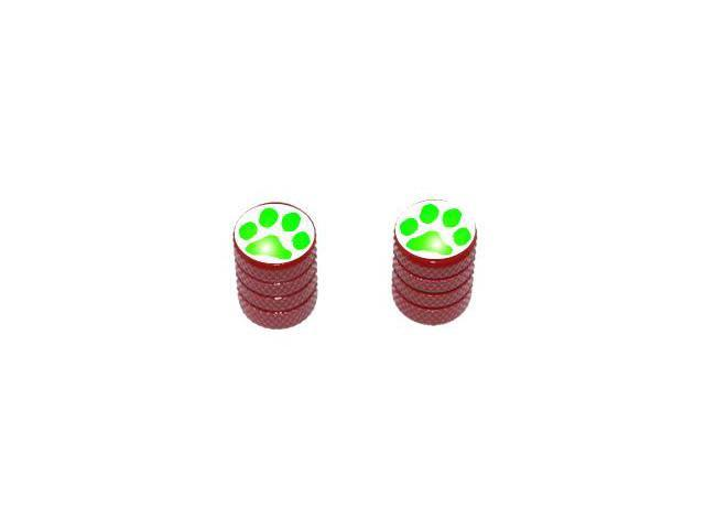 Paw Print Green - Tire Rim Valve Stem Caps - Motorcycle Bike Bicycle - Red
