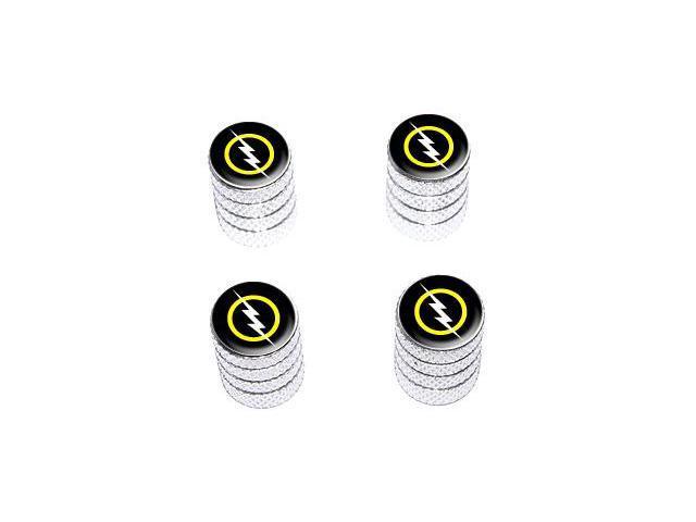 White Lightning Bolt - Tire Rim Valve Stem Caps - Aluminum