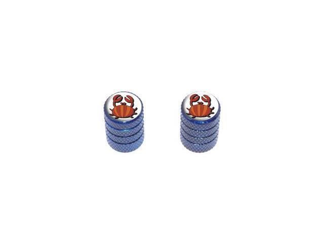Crab - Tire Rim Wheel Valve Stem Caps - Motorcycle Bike Bicycle - Blue