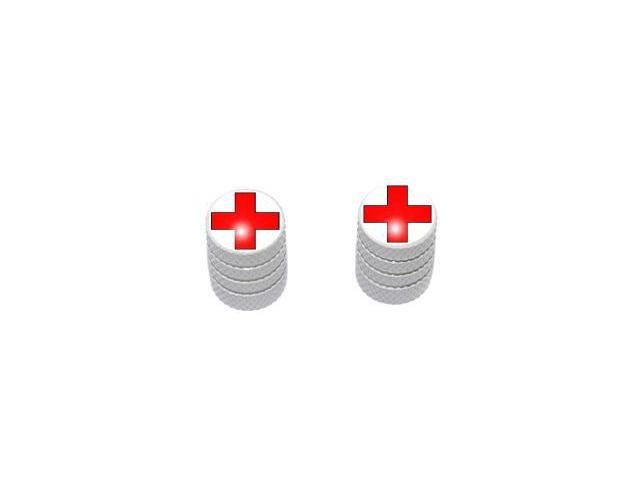 Red Cross - EMT RN Tire Rim Valve Stem Caps - Motorcycle Bike Bicycle - White