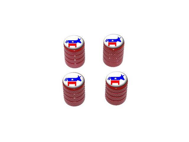 Democrat Democratic Donkey - Tire Rim Valve Stem Caps - Red