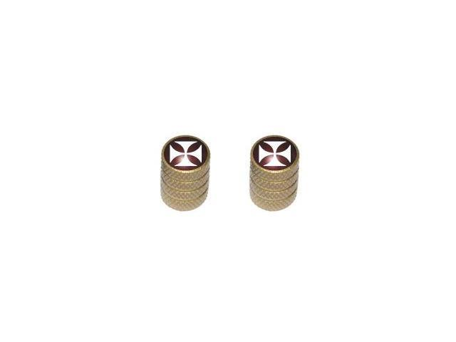 Iron Cross - Tire Rim Valve Stem Caps - Motorcycle Bike Bicycle - Gold