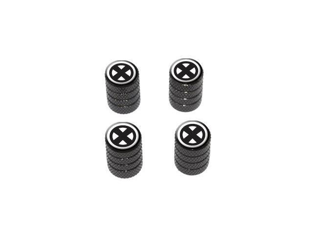 X Cross Design - Tire Rim Valve Stem Caps - Black