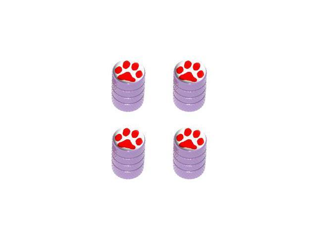 Paw Print Red - Tire Rim Valve Stem Caps - Purple
